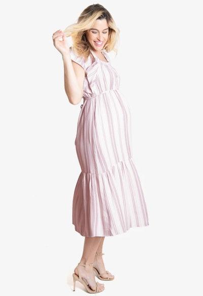 Flutter Sleeve Maternity Midi Dress in Pink Multistripe