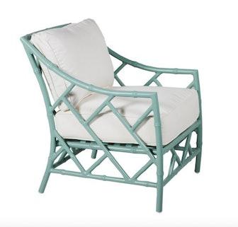 Kit Lounge Chair, Celadon/White Sunbrella