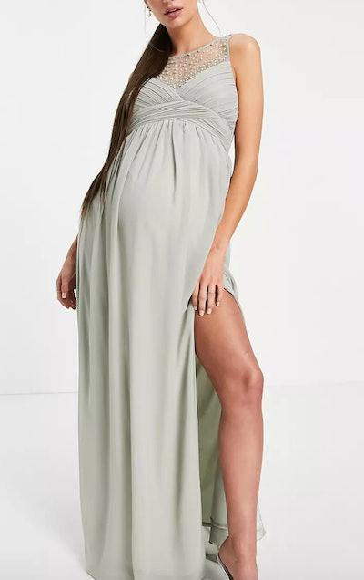 Little Mistress Maternity Embellished Yolk Pleated Maxi Dress