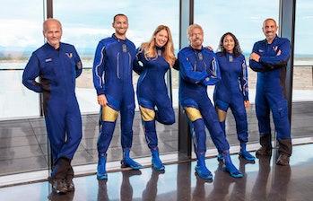 The VSS Unity crew. Left to right: Mackay, Bennett, Moses, Branson, Bandla, Masucci.
