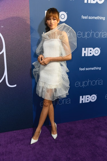 Zendaya in white tulle dress.