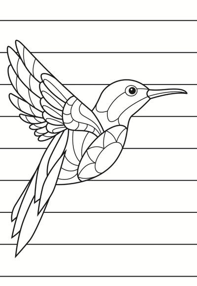 A Stained Glass Hummingbird Coloring Page
