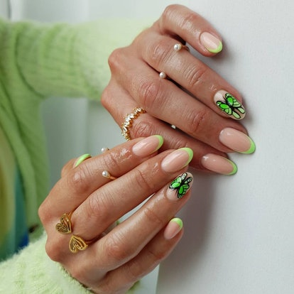 One '90s beauty trend to watch for in manicures: butterfly nail art.