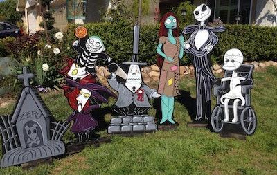 Nightmare Before Christmas yard statues