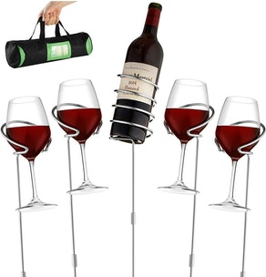 Wine Bottle & Cup stakes Holder Rack