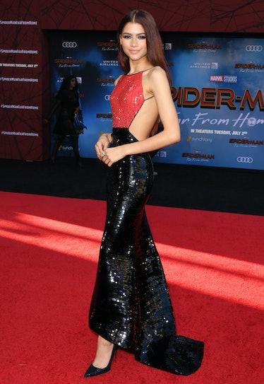 Zendaya in spiderman-inspired dress.