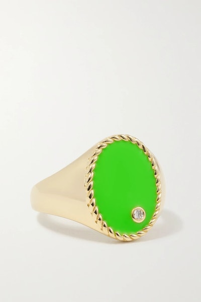 9-Karat Gold, Enamel And Diamond Signet Ring
