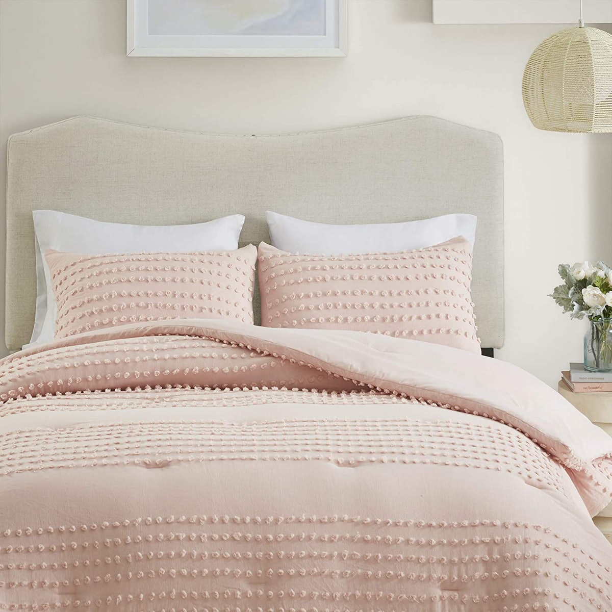 Comfort Spaces Jacquard Pom Tufts Comforter Set (3 Piece)