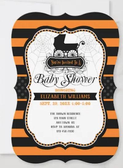Orange and black Nightmare Before Christmas baby shower invitation