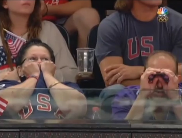 Damaris and William Orozco watch their son John at the 2012 Olympics in London