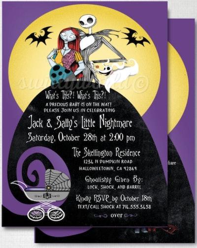Cartoon Nightmare Before Christmas baby shower invitation