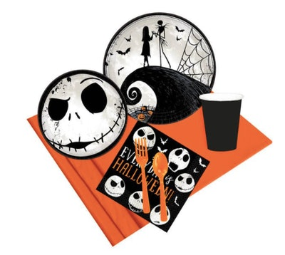 Nightmare Before Christmas plates, napkins, cups, and silverware