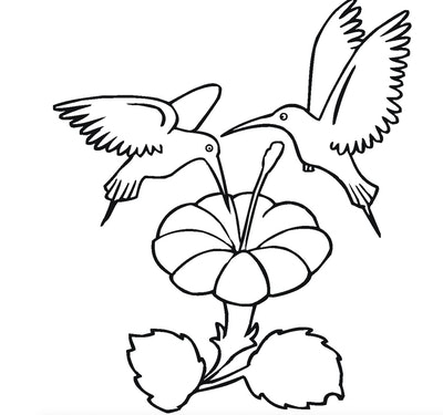 Two Sharing Hummingbirds Coloring Page