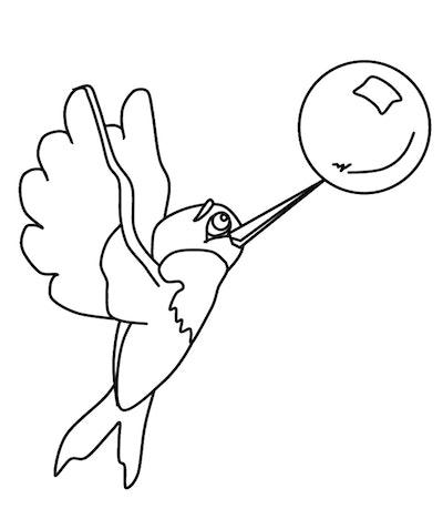 A Balloon and Hummingbird Coloring Page