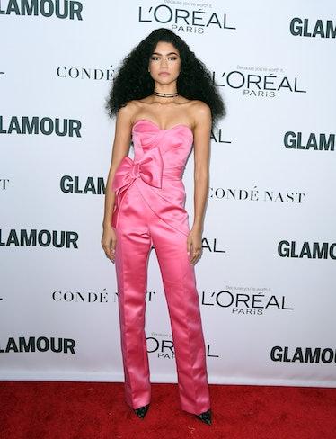 Zendaya in bubblegum pink jumpsuit.
