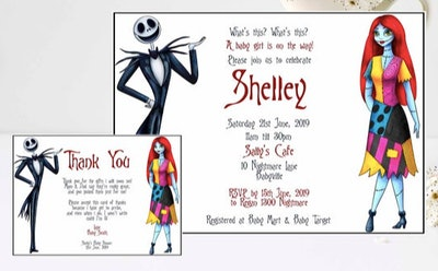 Print at home Nightmare Before Christmas baby shower invitation