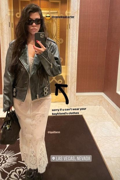 Kourtney Kardashian wears Travis Barker's leather moto jacket on Instagram stories on July 11, 2020.