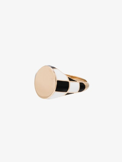 14K Yellow Gold Checker Signet Ring