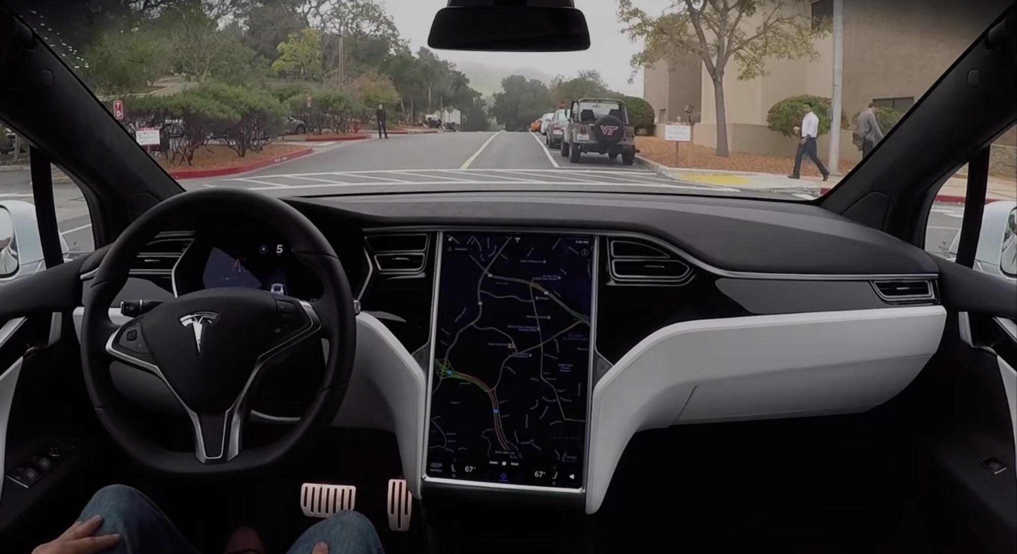 Interior of a Tesla Model S. Electric cars. EV. EVs. electric vehicles.