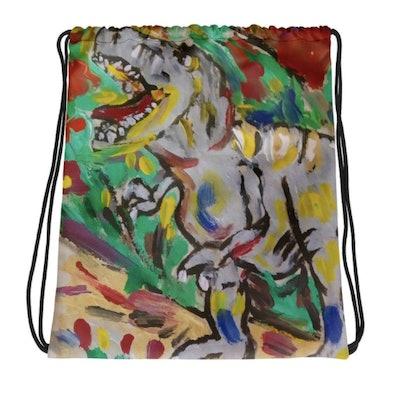 Drawstring Dino Backpack