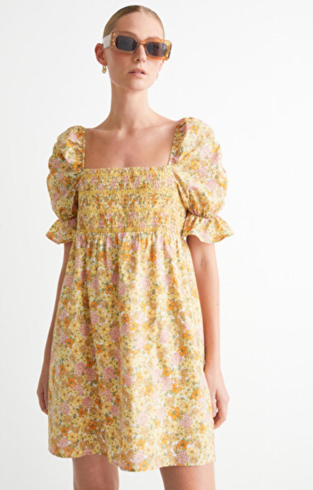Printed Puff Sleeve Mini Dress