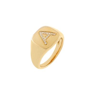 Diamond Initial Pinky Ring 14K
