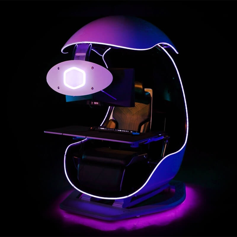 Cooler Master Orb X immersive gaming pod. Triple monitor workstation. Gaming. Video games. Games. PC gaming.