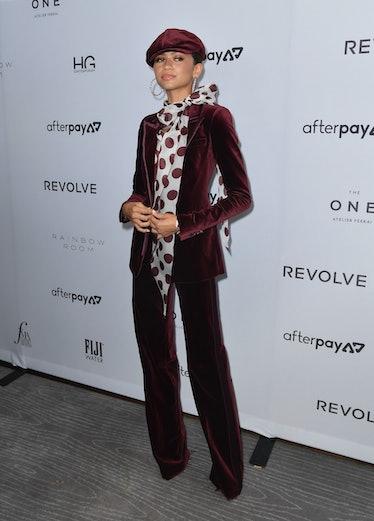 Zendaya in velvet suit.