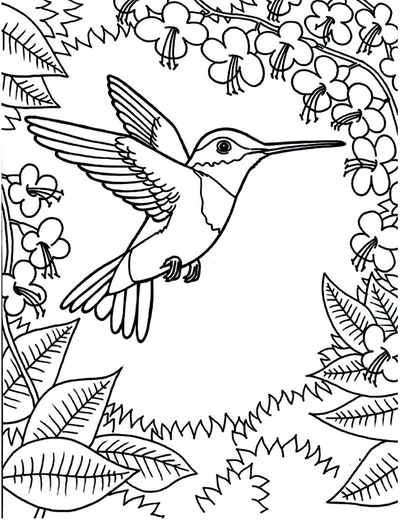 A Floral Hummingbird Coloring Page