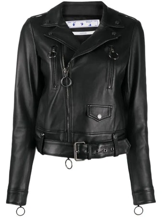 Off-Centre Zip Biker Jacket