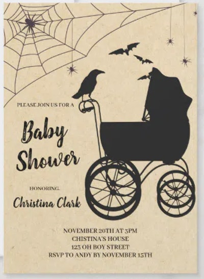 Gothic style Nightmare Before Christmas baby shower invitation