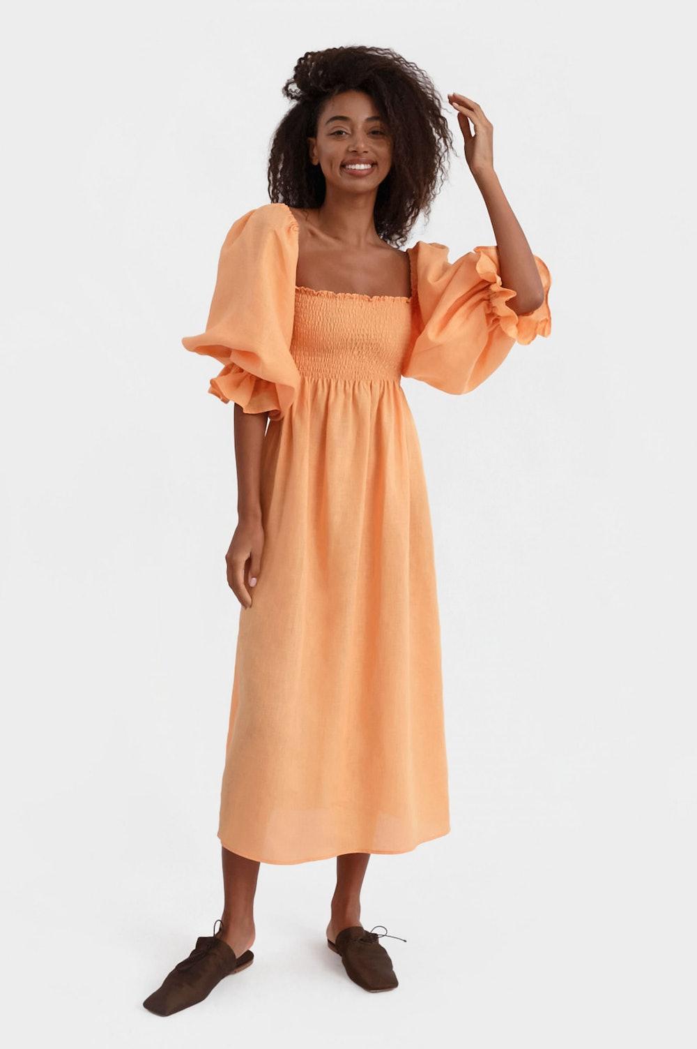 Atlanta Linen Dress in Coral