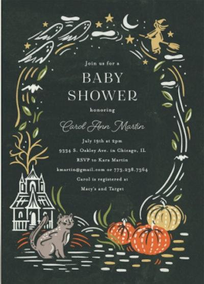 Framed Nightmare Before Christmas baby shower invitation