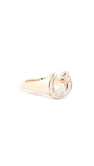 14k Baguette Horseshoe Signet Ring