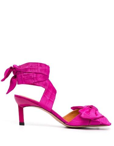 Moire Kitten Heel Sandals