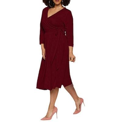 Pink Queen Plus Size Faux Wrap Dress