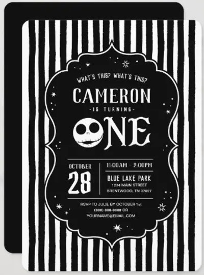 Striped Nightmare Before Christmas baby shower invitation