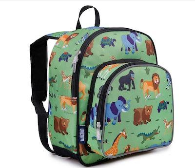 12.5-inch Olive Pack 'n Snack Kids' Backpack - Wild Animals