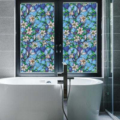 Coavas Stained Glass Privacy Window Film