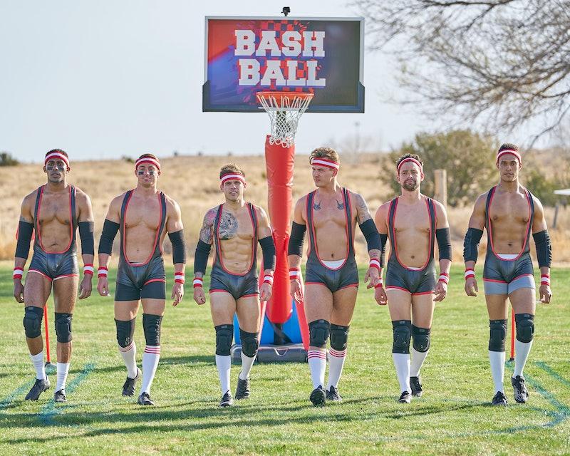 Josh, James, Hunter, Brendan, Michael, and Quartney preparing for a physical group date. Photo via ABC