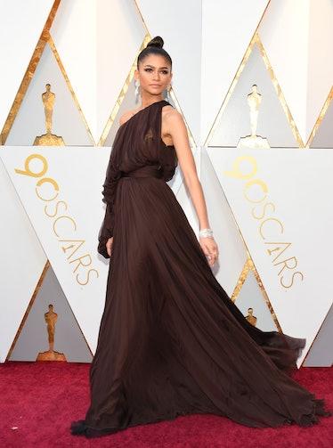 Zendaya in brown dress.