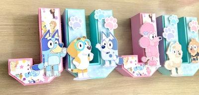 JustDecorGG Bluey Dogs Pink 3D Letters