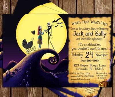 Family Nightmare Before Christmas baby shower invitation