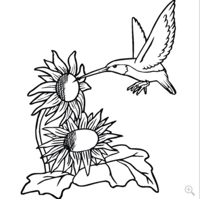 A Hummingbird with Sunflowers Coloring Page