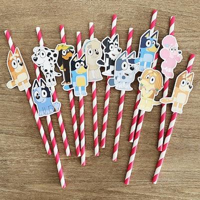 LittleGiftConfetti  Bluey Birthday Party Straw Decor
