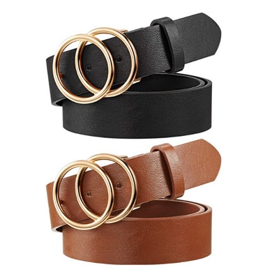 Syhood Faux Leather Waist Belts (2-Pack)