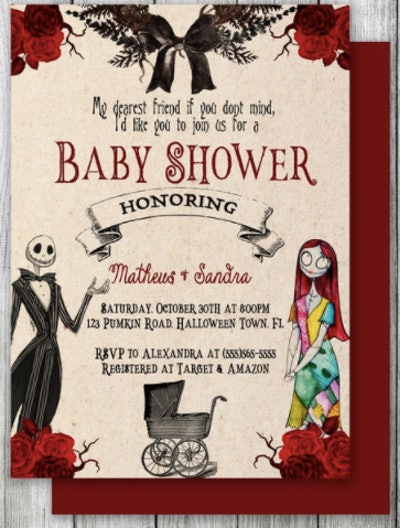 Bat and buggy Nightmare Before Christmas baby shower invitation