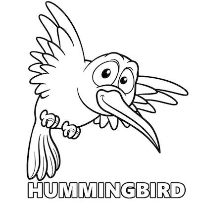 A Cartoon-esque Hummingbird Coloring Page