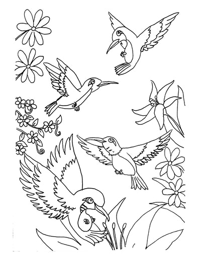 A Host Of Hummingbirds Coloring Page