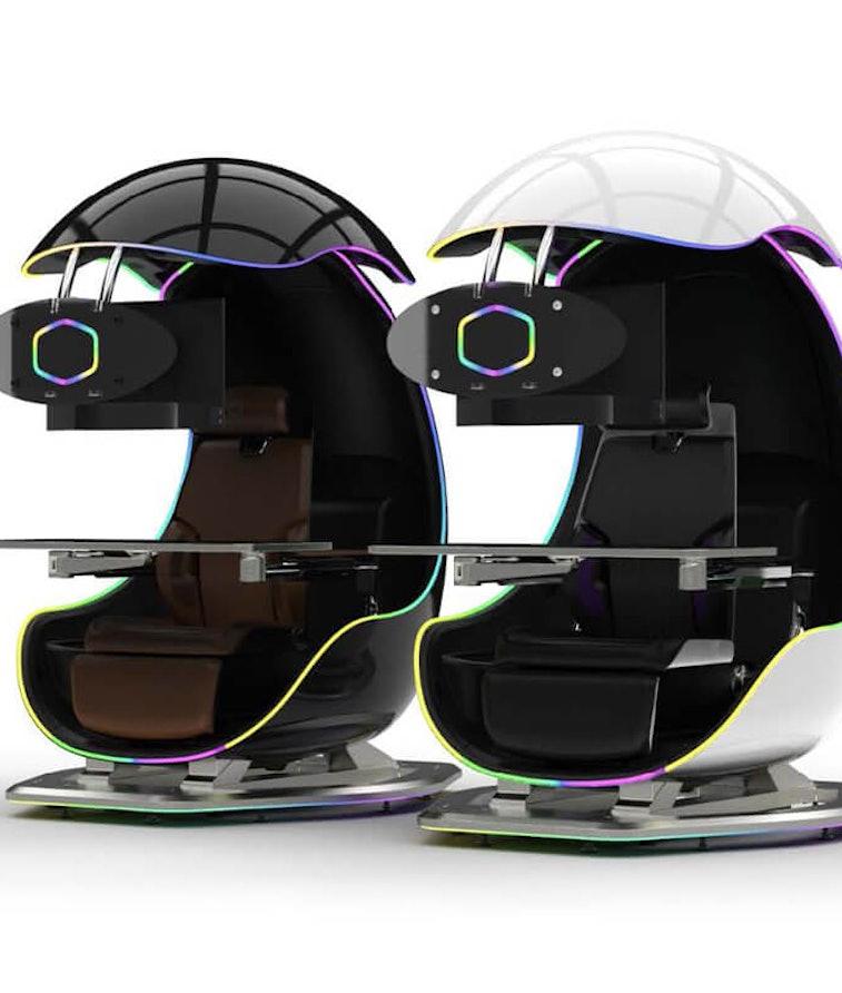Cooler Master Orb X immersive gaming pod. Triple monitor workstation. Gaming.